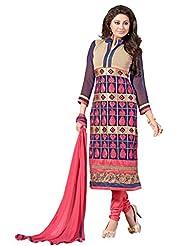 Trendz Apparels Multi 60 Gm Georgette Straight Cut Salwar Suit