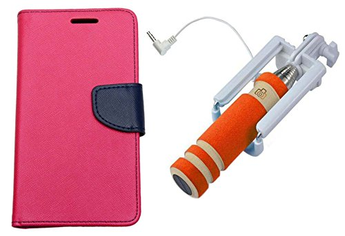 Uni Mobile Care Flip Cover For Samsung Galaxy S Duos2 S7562 S7582 - Pink + Mini Pocket Selfie Stick With Aux Cable For Mobile - Orange