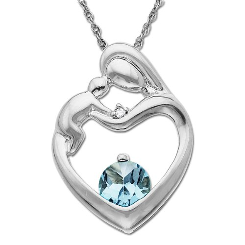 Relatively 10k White Gold Round Aquamarine and Diamond-Accent Mother and  TF44