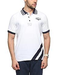 Zovi Men's Cotton White Cut & Sew T-Shirt (11944407901)
