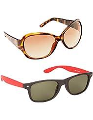 New Stylish UV Protected Combo Pack Of Sunglasses For Women / Girl ( BrownButterfly-RedWayfarer ) ( CM-SUN-038 )