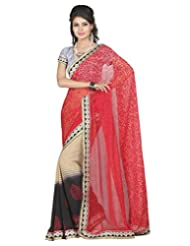 Lookslady Party Wear Red Printed Georgette Saree