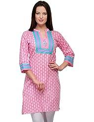 LizaFab Pink Color Cotton Fabric Women's Straight Kurti - B01LEMUBF6