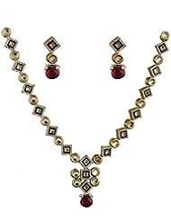 Anuradha Art Golden-Green Kundan Jewellery Set For Women