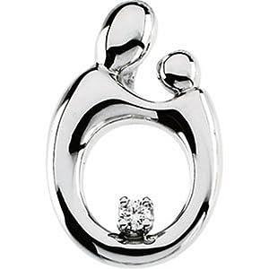 IceCarats Designer Jewelry 14K White Gold Mother And Child Diamond Pendant 20.75X13.75 Mm