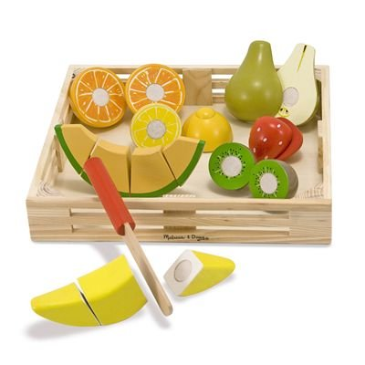 Melissa & Doug Cutting Fruit Set - The Original (Wooden Play Food Kids Toy, Wooden Crate, 17 Pieces, Great Gift for Girls and Boys - Best for 3, 4, and 5 Year Olds)