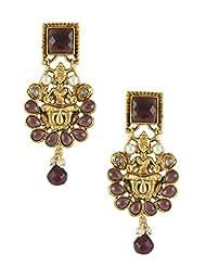 The Art Jewellery Square Purple Stone & Purple Drops Temple Dangle&Drop Earrings For Women