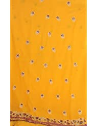 Exotic India Orange Georgette Suit With Parsi-Embroidered Flowers And G - Orange