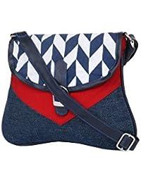 Pick Pocket Blue Canvas Sling Bag.
