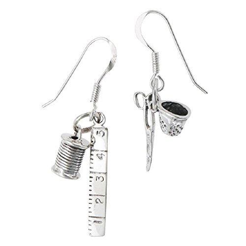 .925 Sterling Silver Sewing Thimble Scissors Dangle Wire Earrings