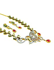 Gehna Mart AD And Pink Tourmaline Stone Necklace With Small Earrings In Gold Plated Designer Jewelry