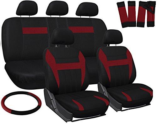 OxGord Car Seat Covers – Mesh Fabric (Red / Black) (17 Piece)