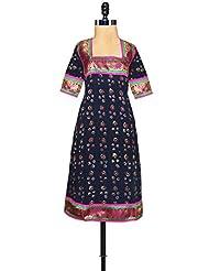 Unnati Silks Women Pracheen Kala Navy Blue Rajasthani Soft Cotton Kurta - B00XYBITR8