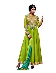 Vimlon Women's Readymade Indian Ethnic Parrot Green And Rama Blue Anarkali Dress