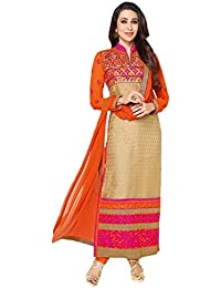 SWEEZ FASHION Women's Cream Georgette Embroidery Semi Stitched Free Size Salwar Suit Dress Material (Women's Karishma...
