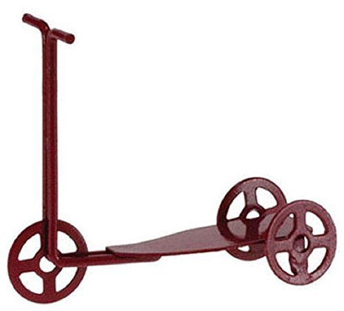Dollhouse Miniature Red Scooter in Pained Metal