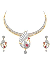 JFL - Fusion Ethnic One Gram Gold Plated Cz American Diamonds Peacock Designer Necklace Set For Women & Girls