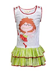 Budding Bees Girls White & Green Embroidered Fit & Flare Dress