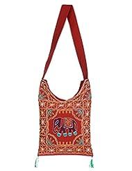 Rajrang Stylish Cotton Embroidered Elephant Maroon Sling Bag - B015PUNJQ6