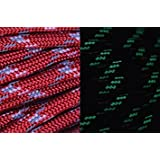 BoredParacord UltraCord 100 Feet - Red - Reflective, Glow In The Dark Cord With Fishing Line And Jute Inside