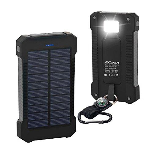 Ecandy ソーラー充電モバイルバンク10000mAh大容量パワーバンク (黒)
