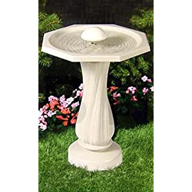 API 390 Water Rippling Bird Bath with Pedestal and Water Wiggler