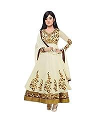 AliColours Women's Faux Georgette Designer Anarkali Dress Material (AliFiona4004_White_Free Size)