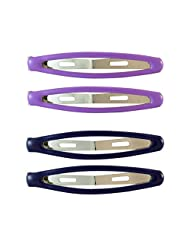 Sarah Oval Navy Blue And Purple Hair Clip Set For Women