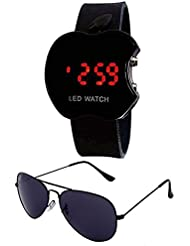 Sheomy Unisex Combo Pack Of Sunglasses And LED Digital Black Dial Apple Shape Watch - B01LXVM5EL