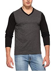 PepperClub Men's Cotton Dual Colour V-Neck Full Sleeve Black And Charcoal T-shirt
