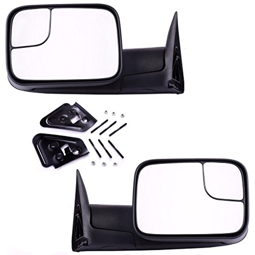 DEDC Dodge Tow Mirrors Dodge Ram 1500 2500 3500 Pair Manaul Folding With Support Brackets Set For 1994-2002 Dodge Ram 1500 2500 3500