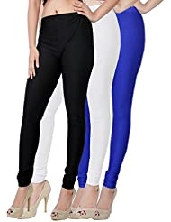 Fashion And Freedom Women's Pack Of 3 Black,White And Blue Satin Leggings