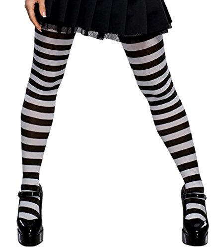 Great Group Halloween Costumes: The Addams Family - Women's Black and White Striped Tights Black White Striped Tights Emo Tights