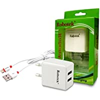 Robotek - Dual USB (2 Amp And 1 Amp) Smart Car Wall Charger With 2 Mtr Iphone 5,5s,6,6plus,6s,Tablet USB Charging...