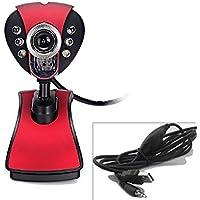Dealstock USB 2.0 6 LED Megapixel Webcam Camera 3.5mm Mic For Desktop Pc Laptop