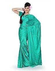 Designersareez Women Crepe Jacquard Printed Light Turquoise Saree With Unstitched Blouse(786)