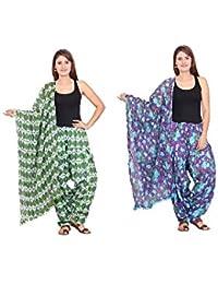 Rama Set Of 2 Printed Purple & Green Colour Cotton Full Patiala With Dupatta Set