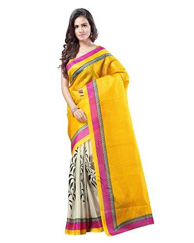 Kajal Sarees Women's Art Silk Self Print Saree (PS_237, Yellow)