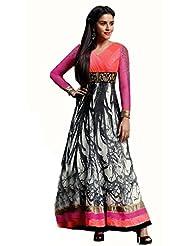 Glamouratic Designer Georgette Pink Embroidered Wedding Saree - B01785Y7H6