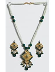 White And Green Bead And Stone Studded Necklace - Synthetic Pearl