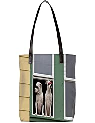 Snoogg Smart Dogs Womens Digitally Printed Utility Tote Bag Handbag Made Of Poly Canvas With Leather Handle