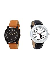 Gledati Men's Black Dial & Foster's Women's White Dial Analog Watch Combo_ADCOMB0002044