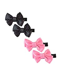Sarah Small Polka Dots Pair Of Two Bow Clip For Girls - Black & Pink