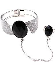 Importe Women Fashion Resin Diamond Wide Cuff Bracelet Hand Chain Slave Ring Silver