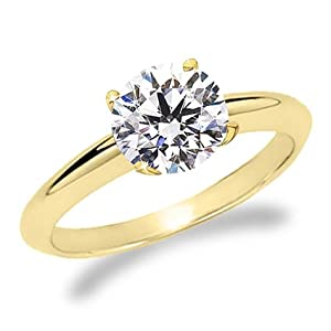 18K Yellow Gold Solitaire Diamond Engagement Ring Round Brilliant Cut ( J Color SI1 Clarity 4.1 ctw) - Size 4.5