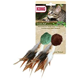 KONG Naturals Crinkle Ball with Feathers Cat Toy (Colors Vary)