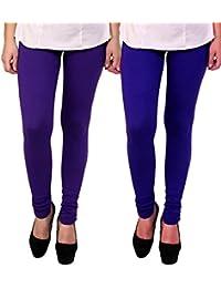 BrandTrendz Purple And Blue Cotton Pack Of 2 Leggings
