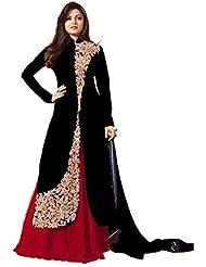 Royal Export Women's Bangalori Black Anarkali Semi Stitched Salwar Suit