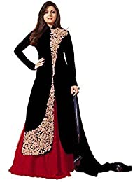 Royal Export Women's Bangalori Silk Black And Red Straight Semi-Stitched Salwar Suit