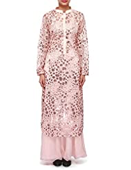 Kalki Fashions Peach Straight Suit Adorn In Sequin Embroidery